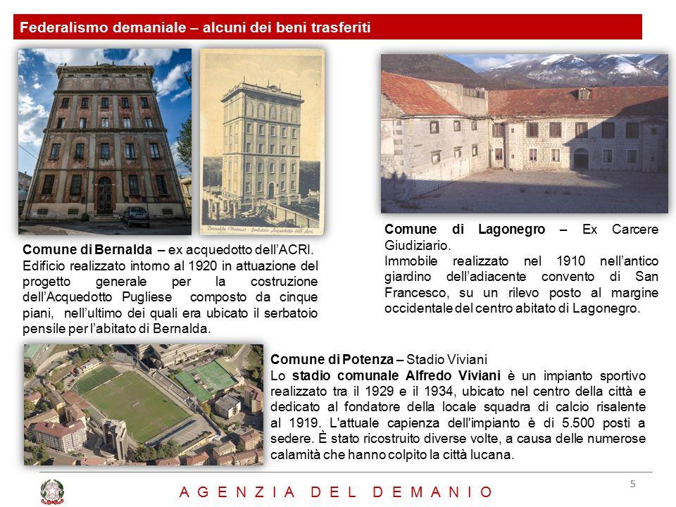 Federalismo demaniale – alcuni dei beni trasferiti 55 A G E N Z I A D E L D E M A N I O Comune di Bernalda – ex acquedotto dell'ACRI. Edificio realizz