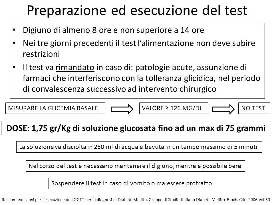 Preparazione ed esecuzione del test Digiuno di almeno 8 ore e non superiore a 14 ore Nei tre giorni precedenti il test l'alimentazione non deve subire restrizioni Il test va rimandato in caso di: patologie acute, assunzione di farmaci che interferiscono con la tolleranza glicidica, nel periodo di convalescenza successivo ad intervento chirurgico MISURARE LA GLICEMIA BASALEVALORE ≥ 126 MG/DLNO TEST DOSE: 1,75 gr/Kg di soluzione glucosata fino ad un max di 75 grammi La soluzione va disciolta in 250 ml di acqua e bevuta in un tempo massimo di 5 minuti Nel corso del test è necessario mantenere il digiuno, mentre è possibile bere Sospendere il test in caso di vomito o malessere protratto Raccomandazioni per l'esecuzione dell'OGTT per la diagnosi di Diabete Mellito, Gruppo di Studio Italiano Diabete Mellito Bioch.