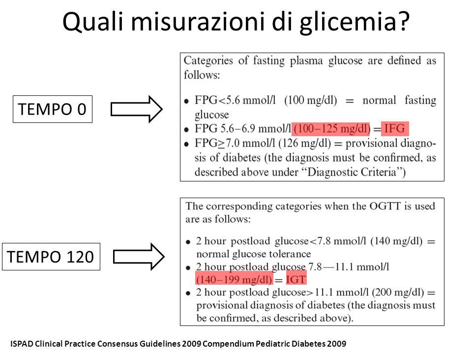 Ambulatorio diabetologia pediatrica Motivo: iperglicemia sintomatica post steroide (1 mg/die) TERZO SCENARIO: Rebecca (3 anni) Anamnesi familiare: sorella maggiore affetta da diabete mellito tipo 1 Anamnesi patologica remota: nulla da segnalare Esami laboratorio: Anticorpi anti GAD: 40,9 UI/ml Anticorpi anti IA2: > 400 UI/ml Anticorpi anti insulina: 1,01 UI/ml Hb glicosilata 5,2 % HLA compatibile con DM1 tTgasi IgA- EMA: valori dubbi Tempi Glicemia (mg/dl) 095 30167 60170 90144 120173 Ore Glicemia (mg/dl) 22400 2:00295 8:00130 12:30279 Esame obiettivo all'ingresso: Età: 3 anni Peso: Kg 19,2 (> 95° pc) Altezza: cm 102,5 (>95° pc) P/H >95° pc Insulina rapida 2 U ATTENTO FOLLOW UP Insulinemia (mcUI/ml) < 2 12,5 8 / 17,4 Poliuria
