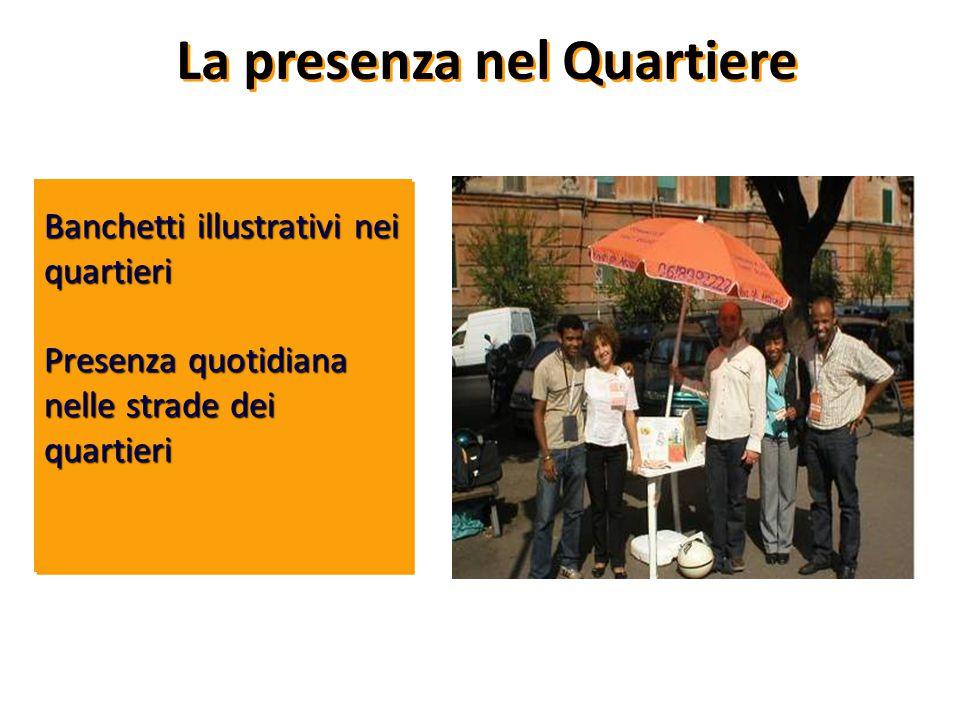 La presenza nel Quartiere Banchetti illustrativi nei quartieri Presenza quotidiana nelle strade dei quartieri
