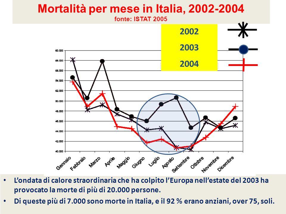 Mortalità per mese in Italia, 2002-2004 fonte: ISTAT 2005 L'ondata di calore straordinaria che ha colpito l'Europa nell'estate del 2003 ha provocato l