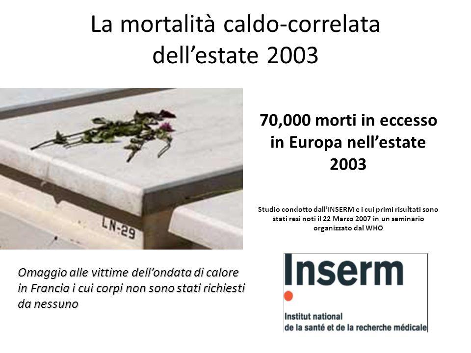 La mortalità caldo-correlata dell'estate 2003 70,000 morti in eccesso in Europa nell'estate 2003 Studio condotto dall'INSERM e i cui primi risultati s