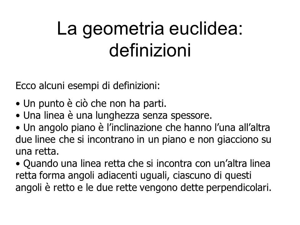 La geometria euclidea: definizioni Un punto è ciò che non ha parti. Una linea è una lunghezza senza spessore. Un angolo piano è l'inclinazione che han