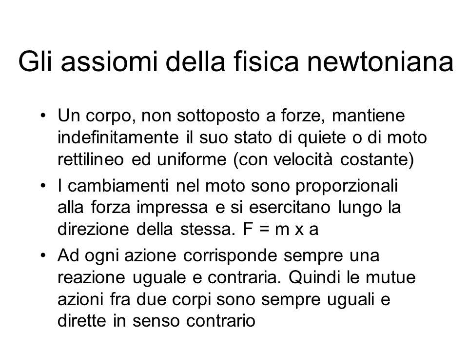 Gli assiomi della fisica newtoniana Un corpo, non sottoposto a forze, mantiene indefinitamente il suo stato di quiete o di moto rettilineo ed uniforme
