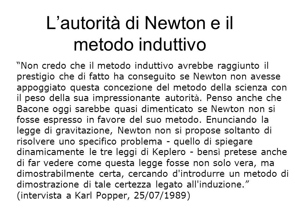 """L'autorità di Newton e il metodo induttivo """"Non credo che il metodo induttivo avrebbe raggiunto il prestigio che di fatto ha conseguito se Newton non"""