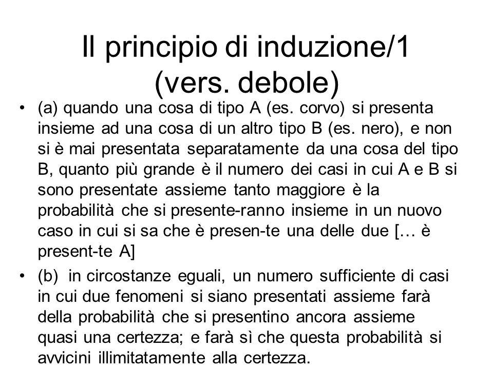 Il principio di induzione/1 (vers. debole) (a) quando una cosa di tipo A (es. corvo) si presenta insieme ad una cosa di un altro tipo B (es. nero), e