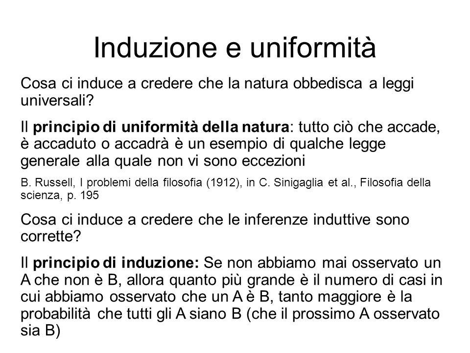 Induzione e uniformità Cosa ci induce a credere che la natura obbedisca a leggi universali? Il principio di uniformità della natura: tutto ciò che acc