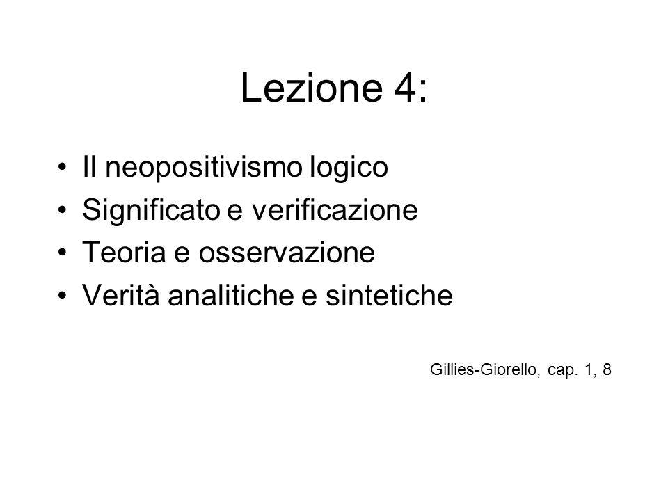 Lezione 4: Il neopositivismo logico Significato e verificazione Teoria e osservazione Verità analitiche e sintetiche Gillies-Giorello, cap. 1, 8