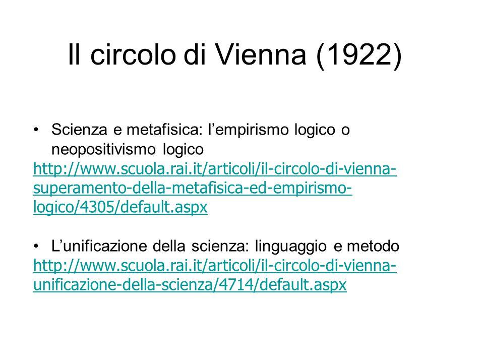 Il circolo di Vienna (1922) Scienza e metafisica: l'empirismo logico o neopositivismo logico http://www.scuola.rai.it/articoli/il-circolo-di-vienna- s