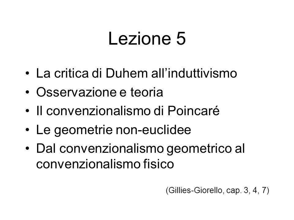Lezione 5 La critica di Duhem all'induttivismo Osservazione e teoria Il convenzionalismo di Poincaré Le geometrie non-euclidee Dal convenzionalismo ge