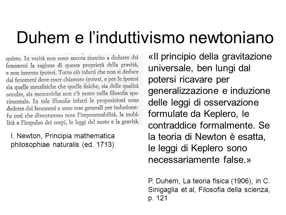 Duhem e l'induttivismo newtoniano «Il principio della gravitazione universale, ben lungi dal potersi ricavare per generalizzazione e induzione delle l