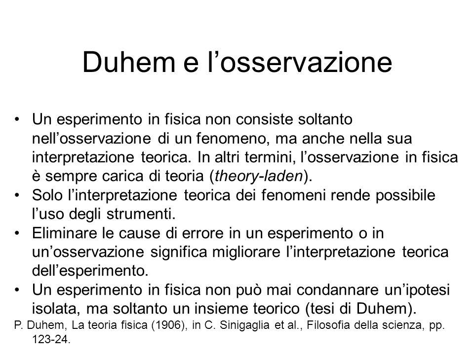 Duhem e l'osservazione Un esperimento in fisica non consiste soltanto nell'osservazione di un fenomeno, ma anche nella sua interpretazione teorica. In