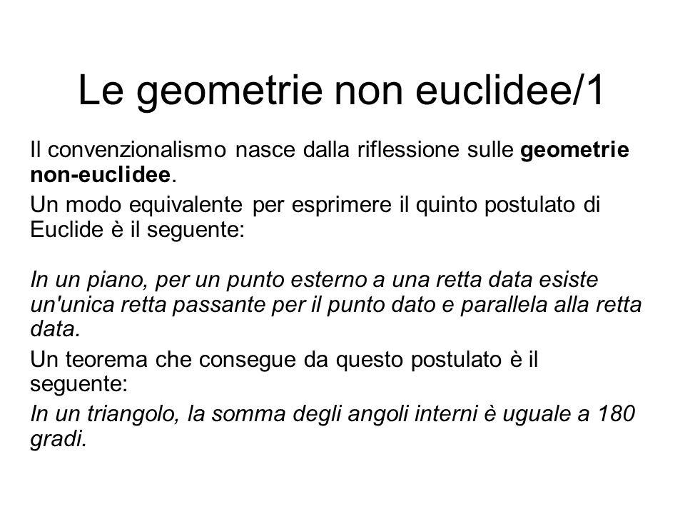 Le geometrie non euclidee/1 Il convenzionalismo nasce dalla riflessione sulle geometrie non-euclidee. Un modo equivalente per esprimere il quinto post