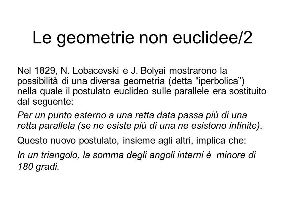 """Le geometrie non euclidee/2 Nel 1829, N. Lobacevski e J. Bolyai mostrarono la possibilità di una diversa geometria (detta """"iperbolica"""") nella quale il"""
