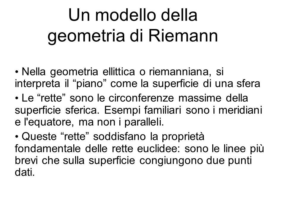 """Un modello della geometria di Riemann Nella geometria ellittica o riemanniana, si interpreta il """"piano"""" come la superficie di una sfera Le """"rette"""" son"""