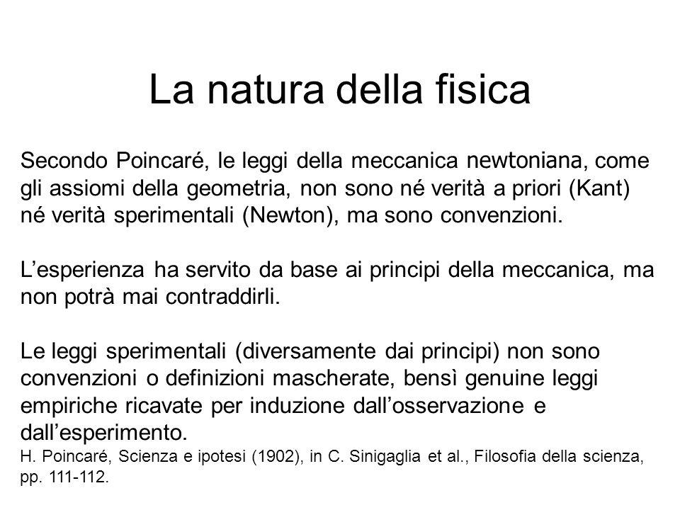 La natura della fisica Secondo Poincaré, le leggi della meccanica newtoniana, come gli assiomi della geometria, non sono né verità a priori (Kant) né
