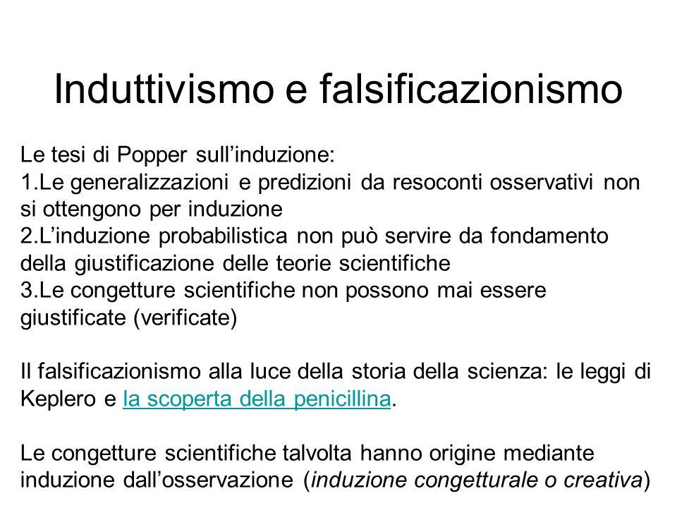 Induttivismo e falsificazionismo Le tesi di Popper sull'induzione: 1.Le generalizzazioni e predizioni da resoconti osservativi non si ottengono per in