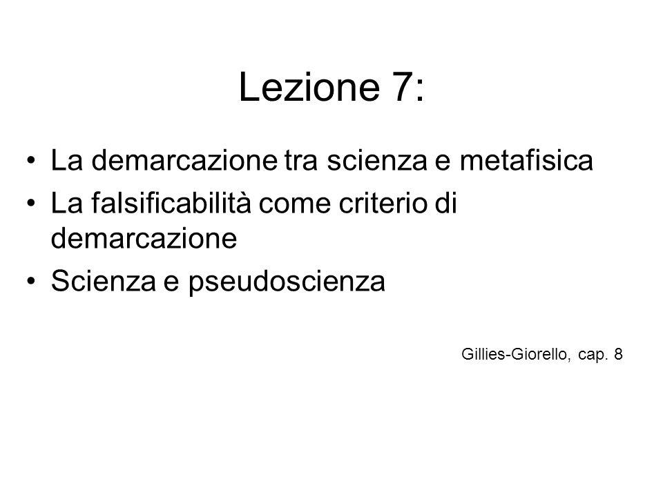 Lezione 7: La demarcazione tra scienza e metafisica La falsificabilità come criterio di demarcazione Scienza e pseudoscienza Gillies-Giorello, cap. 8