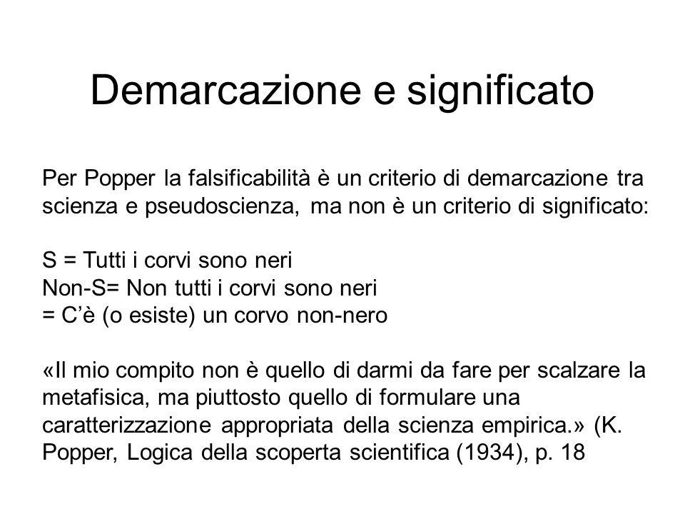 Demarcazione e significato Per Popper la falsificabilità è un criterio di demarcazione tra scienza e pseudoscienza, ma non è un criterio di significat