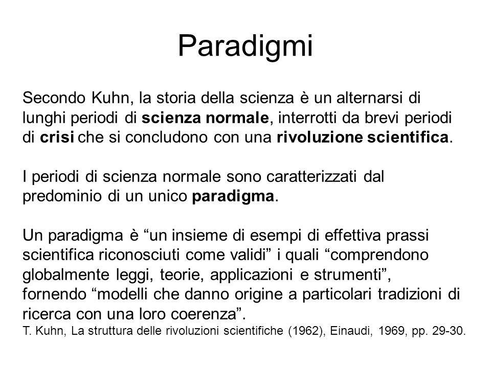 Paradigmi Secondo Kuhn, la storia della scienza è un alternarsi di lunghi periodi di scienza normale, interrotti da brevi periodi di crisi che si conc