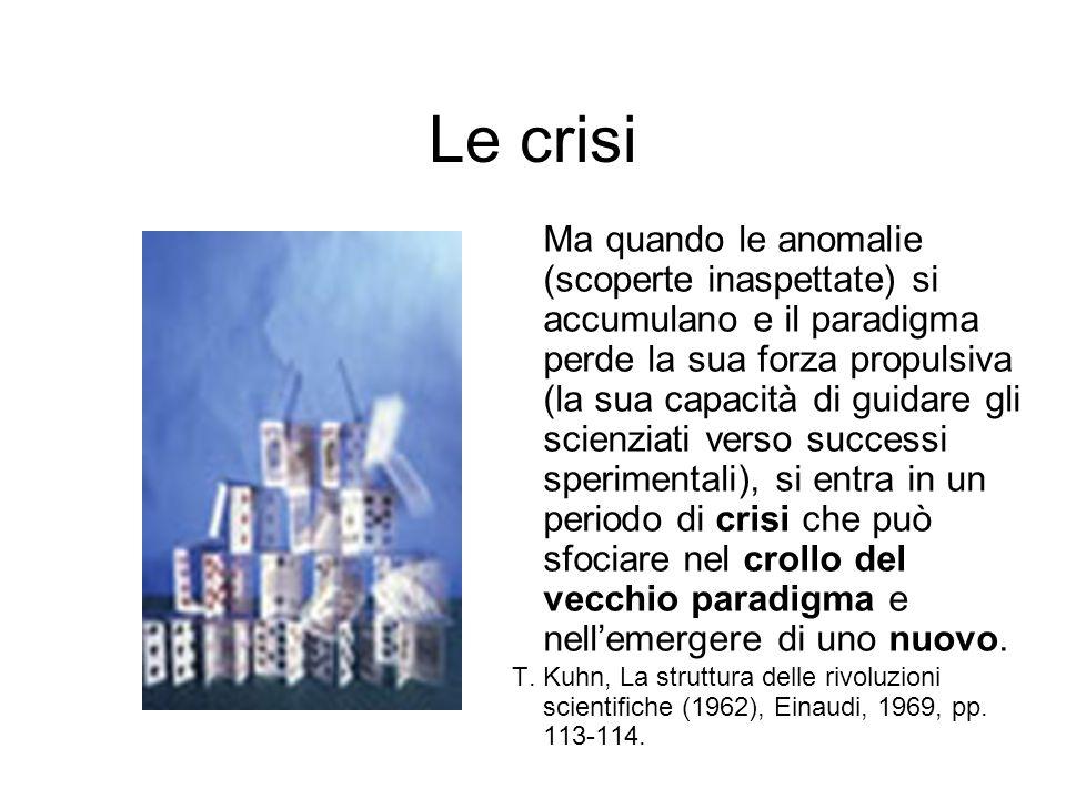 Le crisi Ma quando le anomalie (scoperte inaspettate) si accumulano e il paradigma perde la sua forza propulsiva (la sua capacità di guidare gli scien