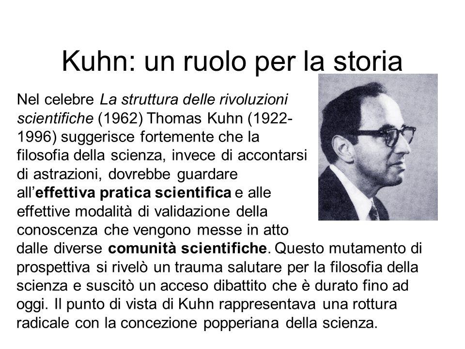 Kuhn: un ruolo per la storia Nel celebre La struttura delle rivoluzioni scientifiche (1962) Thomas Kuhn (1922- 1996) suggerisce fortemente che la filo