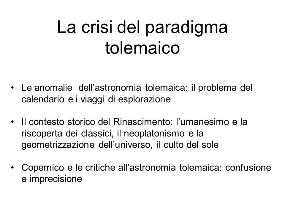 La crisi del paradigma tolemaico Le anomalie dell'astronomia tolemaica: il problema del calendario e i viaggi di esplorazione Il contesto storico del