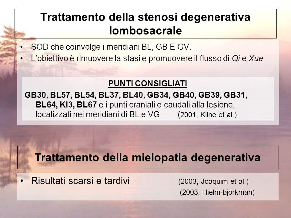Normalizzazione del flusso del Qi e del sangue per alleviare il dolore Tonificazione di Rene, Fegato e Milza Eliminazione dell'Umidità-Freddo dai canali Trattamento della spondilartrosi PUNTI CONSIGLIATI ST36, SP6, VC4, VC6, VG4, TH4, LR8, BL20, BL23 per il vuoto di Qi BL17, BL18, SP10, PC6, LI11, SP6 per nutrire il sangue.