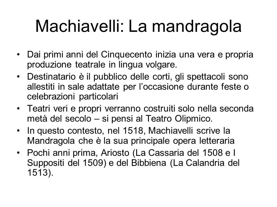 Machiavelli: La mandragola Dai primi anni del Cinquecento inizia una vera e propria produzione teatrale in lingua volgare.