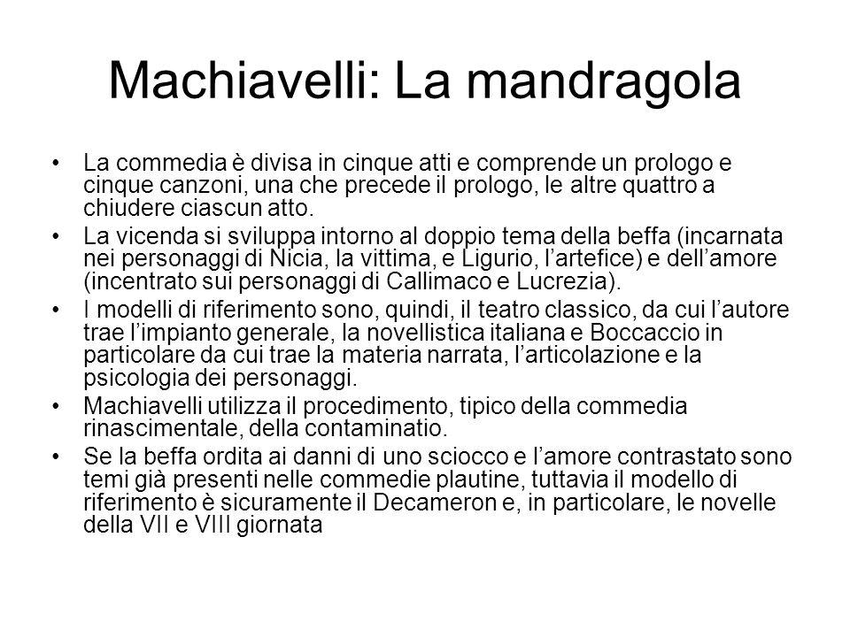 Machiavelli: La mandragola La commedia è divisa in cinque atti e comprende un prologo e cinque canzoni, una che precede il prologo, le altre quattro a chiudere ciascun atto.