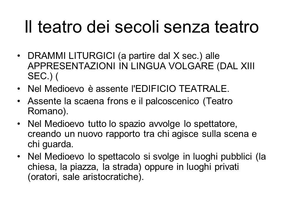 Il teatro dei secoli senza teatro DRAMMI LITURGICI (a partire dal X sec.) alle APPRESENTAZIONI IN LINGUA VOLGARE (DAL XIII SEC.) ( Nel Medioevo è assente l EDIFICIO TEATRALE.