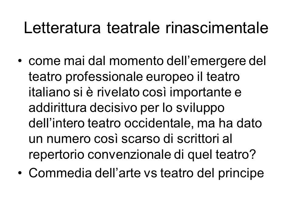 Letteratura teatrale rinascimentale come mai dal momento dell'emergere del teatro professionale europeo il teatro italiano si è rivelato così importante e addirittura decisivo per lo sviluppo dell'intero teatro occidentale, ma ha dato un numero così scarso di scrittori al repertorio convenzionale di quel teatro.
