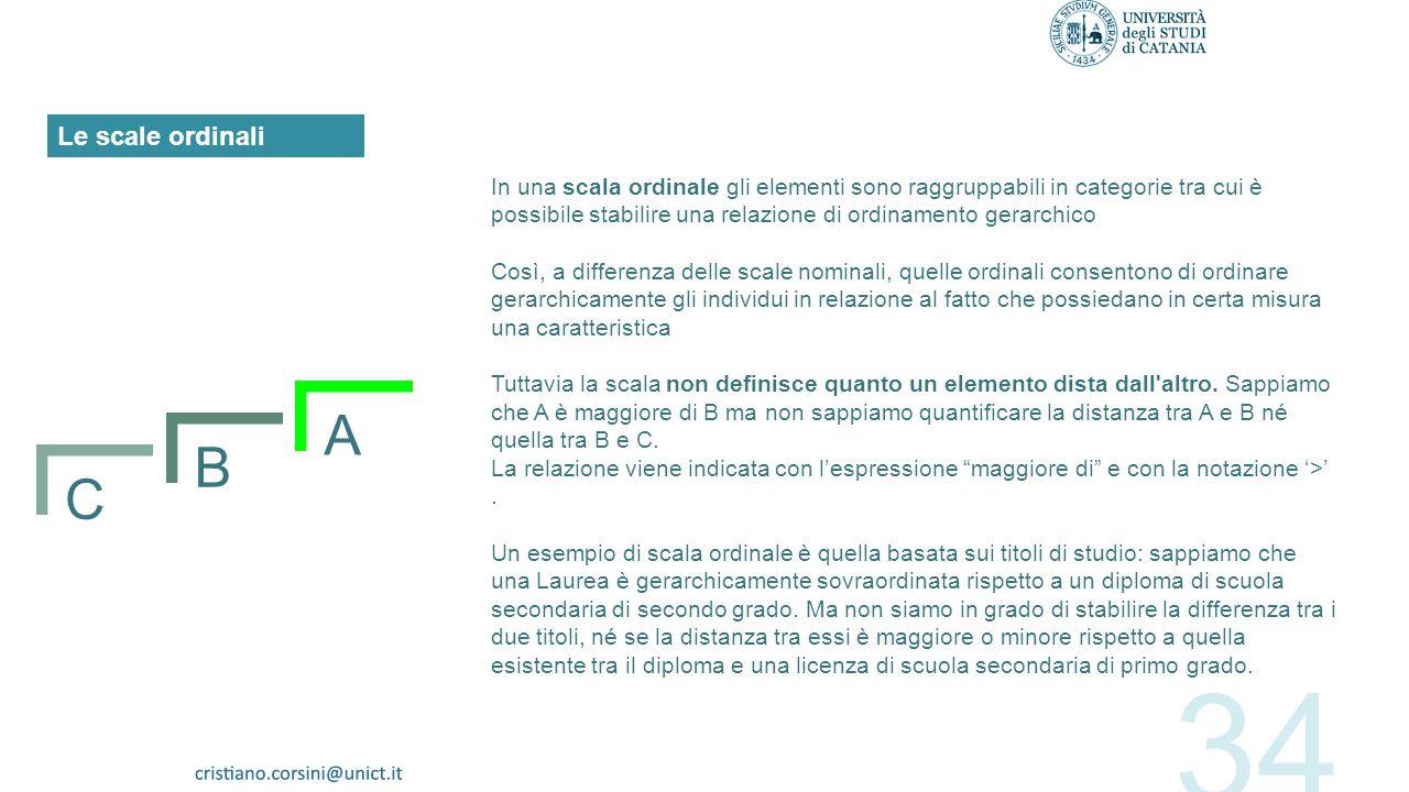 Il tipo di misura più elementare è quello basato su scale nominali. Gli elementi che sono oggetto della misurazione possono essere solo raggruppati in