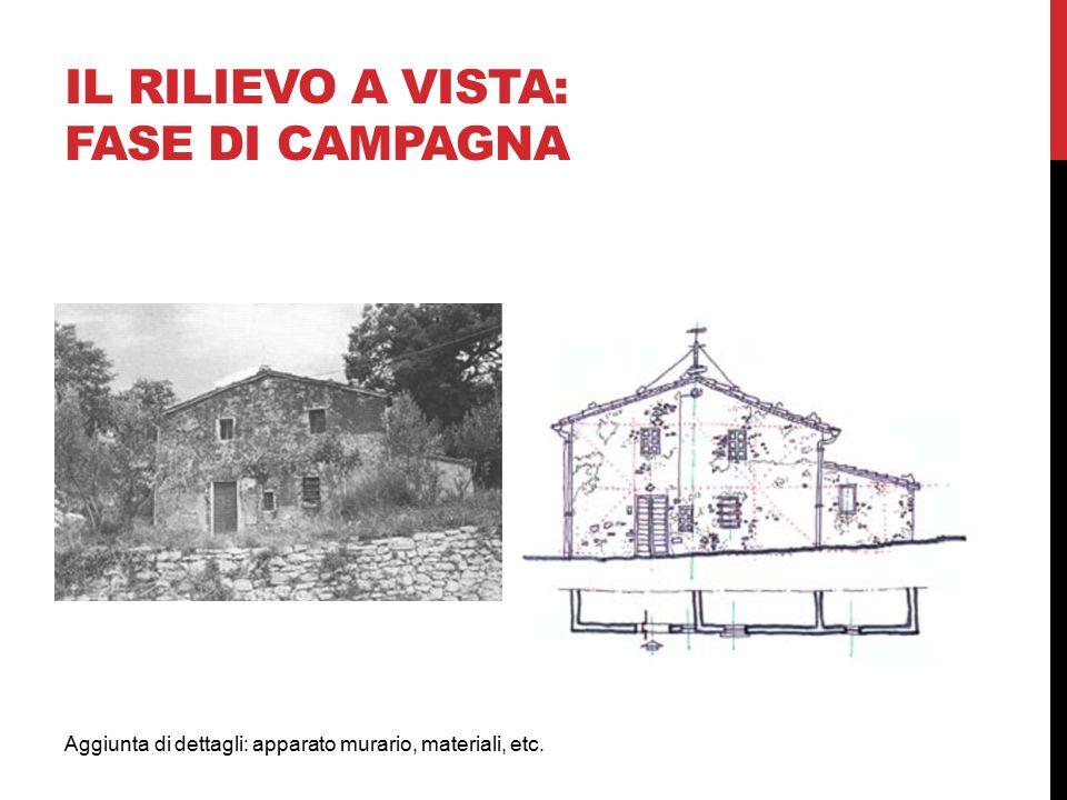 Aggiunta di dettagli: apparato murario, materiali, etc. IL RILIEVO A VISTA: FASE DI CAMPAGNA