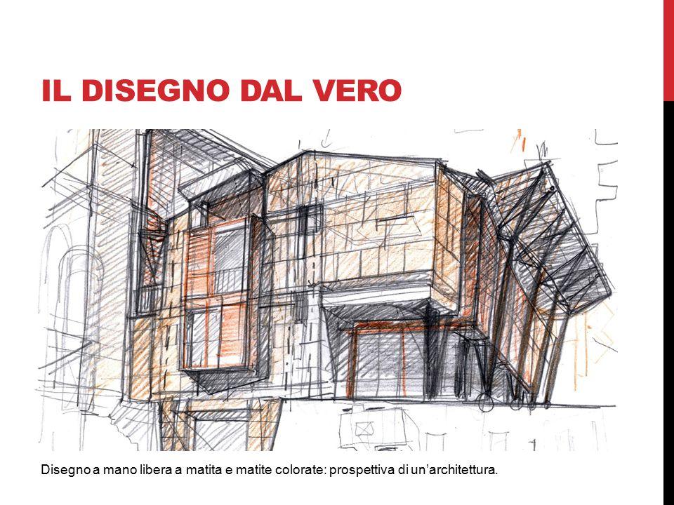 Disegno a mano libera a matita e matite colorate: prospettiva di un'architettura. IL DISEGNO DAL VERO