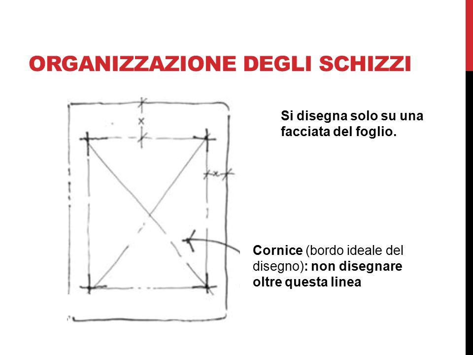 ORGANIZZAZIONE DEGLI SCHIZZI Cornice (bordo ideale del disegno): non disegnare oltre questa linea Si disegna solo su una facciata del foglio.