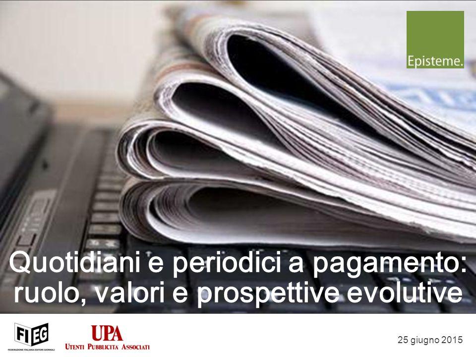 25 giugno 2015 Quotidiani e periodici a pagamento: ruolo, valori e prospettive evolutive