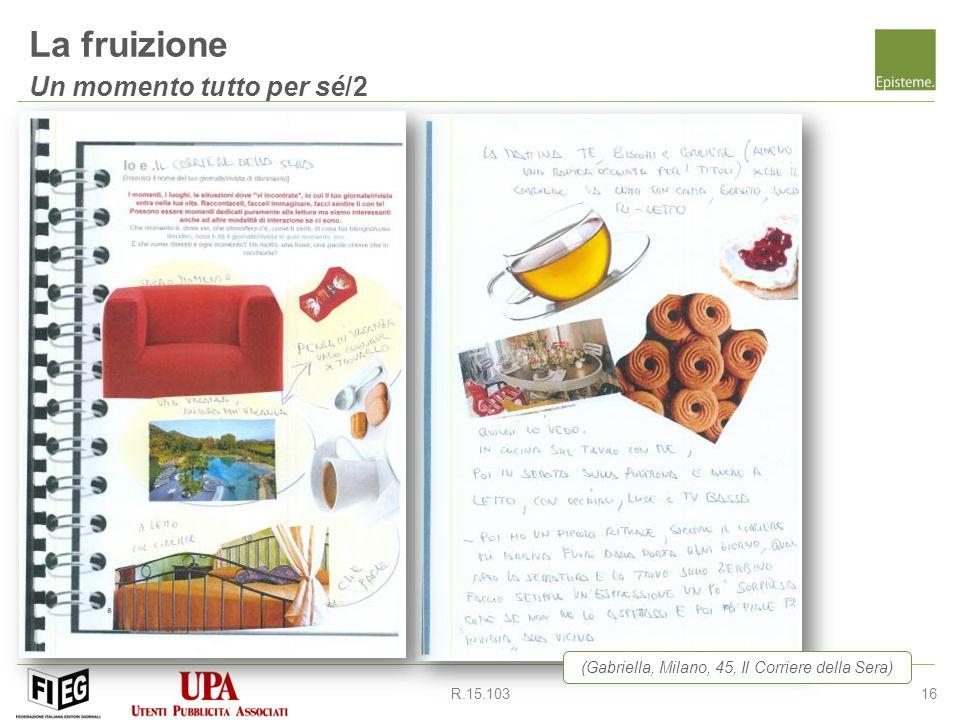 16R.15.103 La fruizione Un momento tutto per sé/2 (Gabriella, Milano, 45, Il Corriere della Sera)