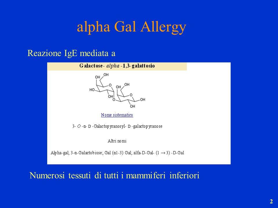 2 alpha Gal Allergy Numerosi tessuti di tutti i mammiferi inferiori Reazione IgE mediata a