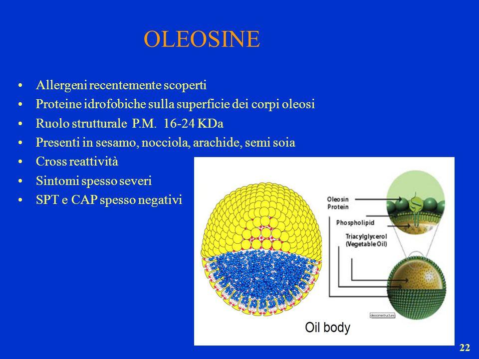22 OLEOSINE Allergeni recentemente scoperti Proteine idrofobiche sulla superficie dei corpi oleosi Ruolo strutturale P.M. 16-24 KDa Presenti in sesamo