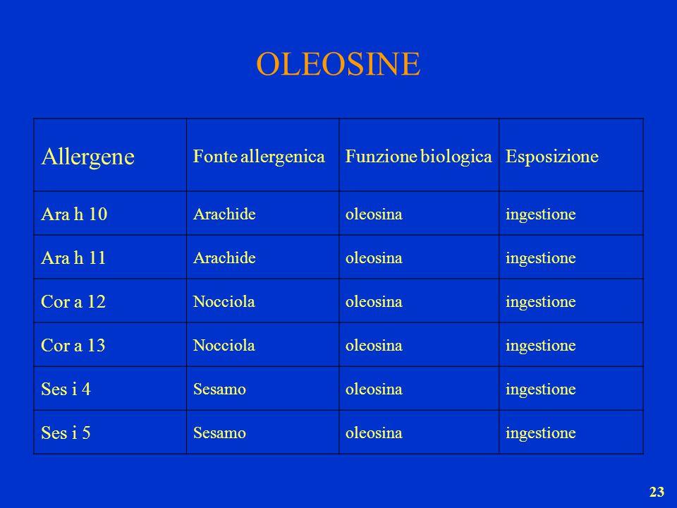 23 OLEOSINE Allergene Fonte allergenicaFunzione biologicaEsposizione Ara h 10 Arachideoleosinaingestione Ara h 11 Arachideoleosina ingestione Cor a 12