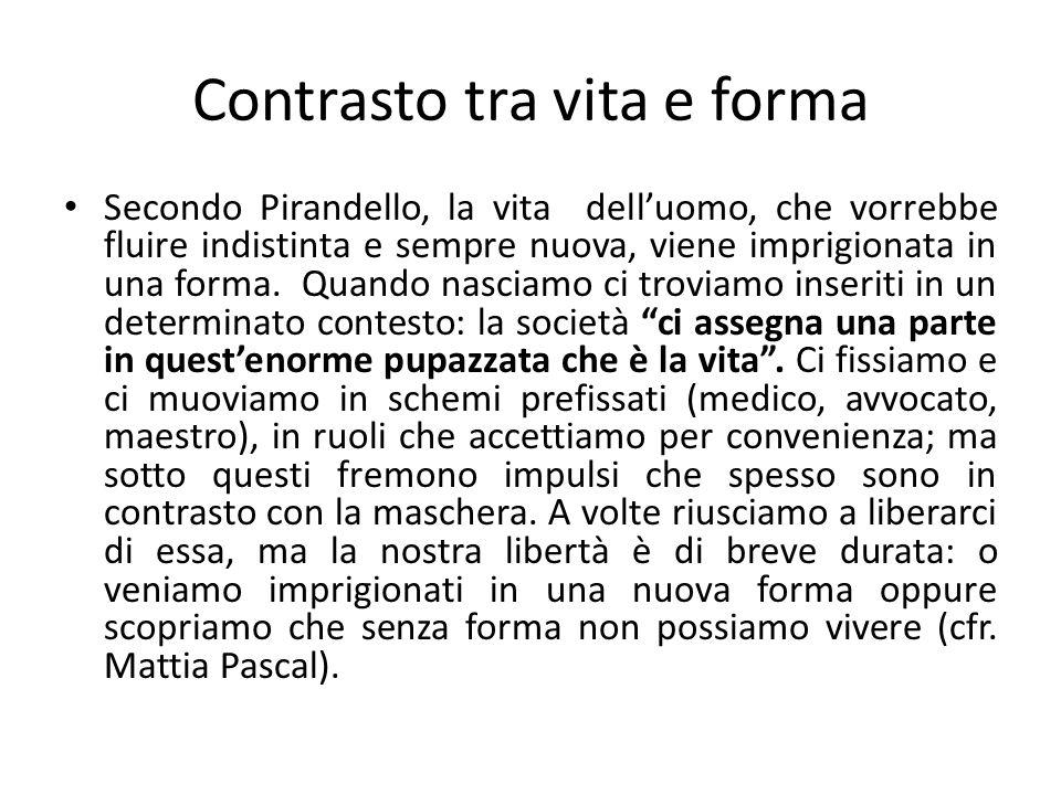 Contrasto tra vita e forma Secondo Pirandello, la vita dell'uomo, che vorrebbe fluire indistinta e sempre nuova, viene imprigionata in una forma.