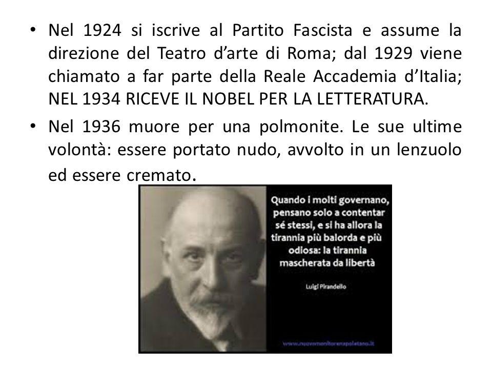 Il pensiero Con Pirandello arriva alla massima espressione la crisi del Positivismo.