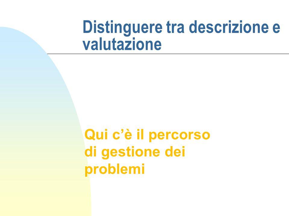Distinguere tra descrizione e valutazione Qui c'è il percorso di gestione dei problemi