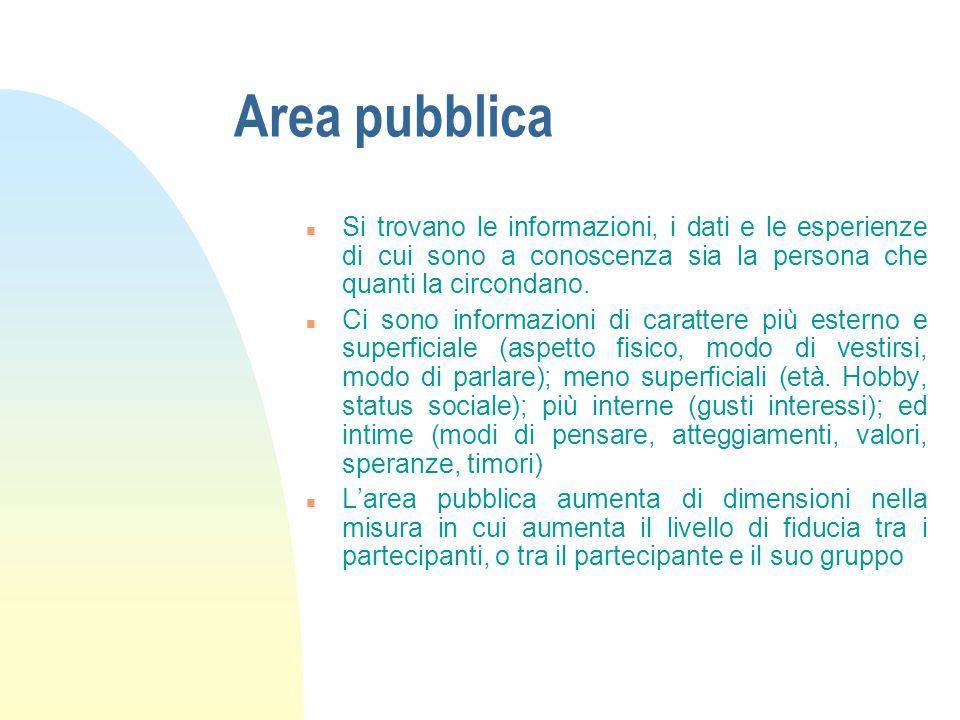 Area pubblica n Si trovano le informazioni, i dati e le esperienze di cui sono a conoscenza sia la persona che quanti la circondano. n Ci sono informa