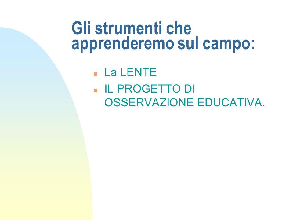 Gli strumenti che apprenderemo sul campo: n La LENTE n IL PROGETTO DI OSSERVAZIONE EDUCATIVA.