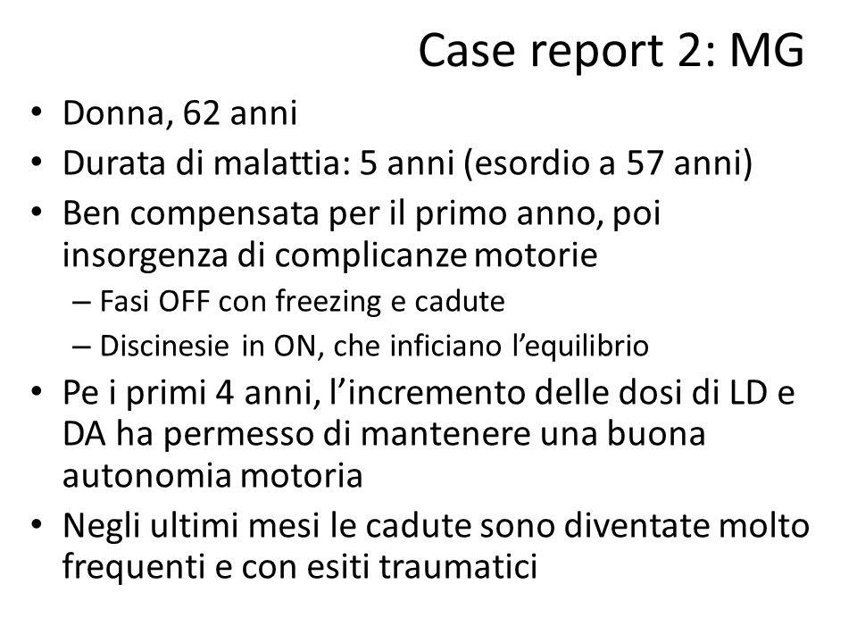 Case report 2: MG Donna, 62 anni Durata di malattia: 5 anni (esordio a 57 anni) Ben compensata per il primo anno, poi insorgenza di complicanze motori