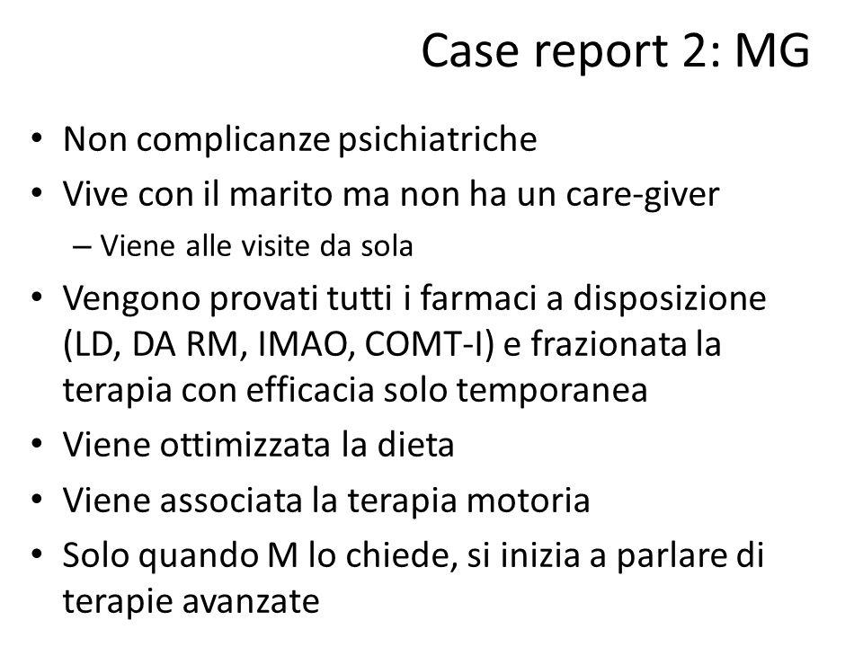 Case report 2: MG Non complicanze psichiatriche Vive con il marito ma non ha un care-giver – Viene alle visite da sola Vengono provati tutti i farmaci