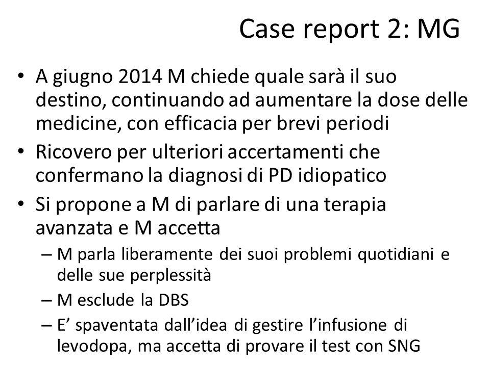 Case report 2: MG A giugno 2014 M chiede quale sarà il suo destino, continuando ad aumentare la dose delle medicine, con efficacia per brevi periodi R