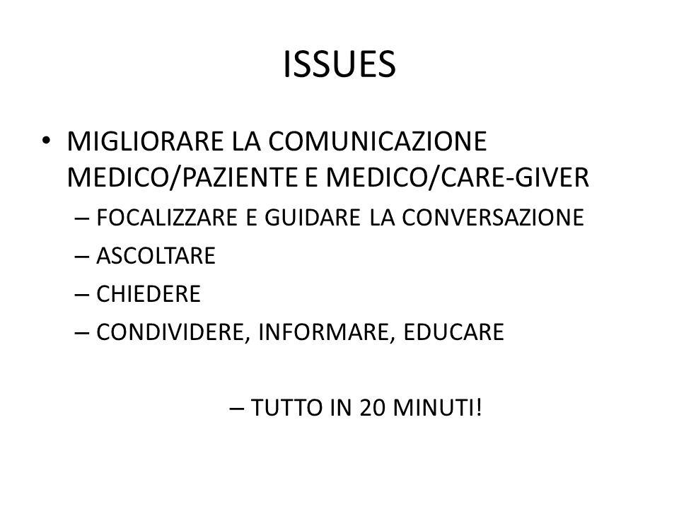 ISSUES MIGLIORARE LA COMUNICAZIONE MEDICO/PAZIENTE E MEDICO/CARE-GIVER – FOCALIZZARE E GUIDARE LA CONVERSAZIONE – ASCOLTARE – CHIEDERE – CONDIVIDERE,